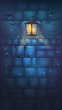만화 일러스트 레이 션 - 배경 끔찍한 할로윈 벽