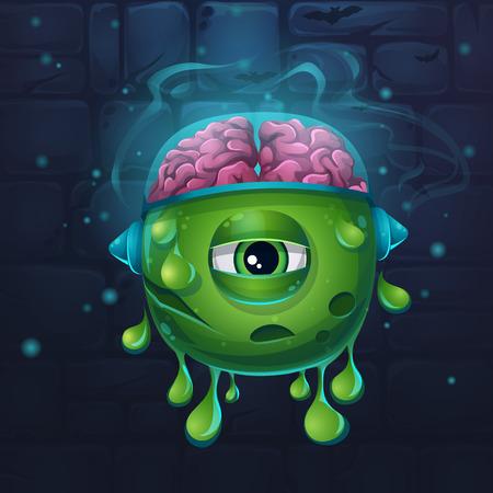 slug: Cartoon funny vector illustration of character monsters slug with brains