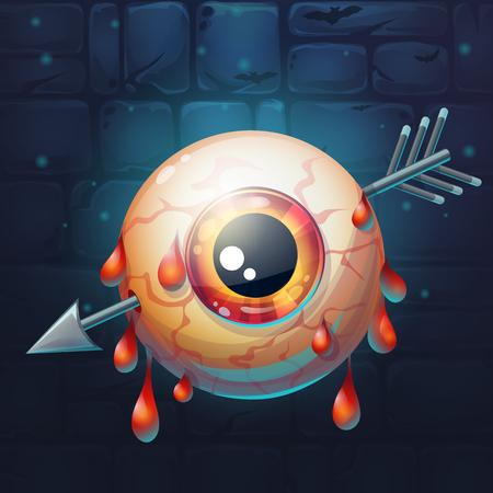 pierced: Cartoon funny vector illustration of  horrible bloody arrow pierced eyeball