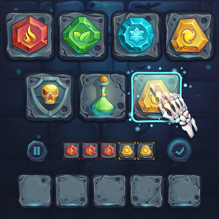 video icons: Set icons and arm bone on the stone buttons. For web, video games, user interface, design. Illustration