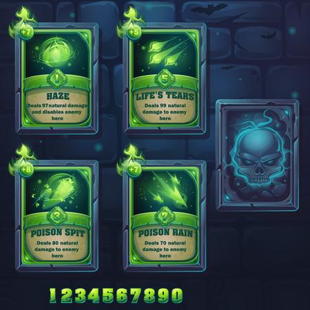 spit: Set spell cards of haze, lifes tears, poison spit, poison rain. For web, video games, user interface, design