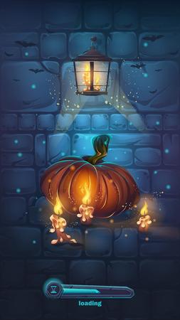 horrible: Vector cartoon illustration boot screen - background horrible Halloween wall with pumpkin Illustration