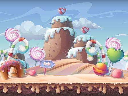 Caramel background vector illustration. Sweet landscape for print, create videos or web graphic design, game user interface, card, poster. Stock Illustratie