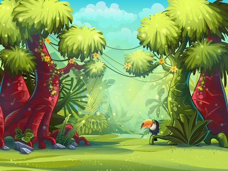 Jungle vector illustratie toekan, bomen en bloemen. Voor video en web design, online games, print, tijdschriften, kranten, boeken en posters.