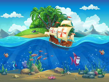 fish water: Undersea world with island and sailing ship. Marine life landscape - the ocean and the underwater world with different inhabitants. For design websites and mobile phones, printing.