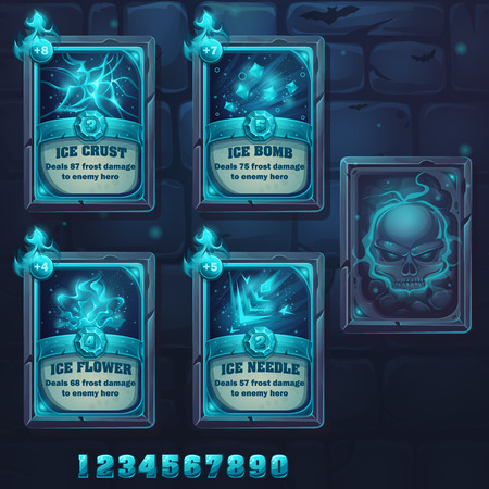 eye socket: Set spell cards of ice crust, ice bomb, ice flower, ice needle. For web, video games, user interface, design