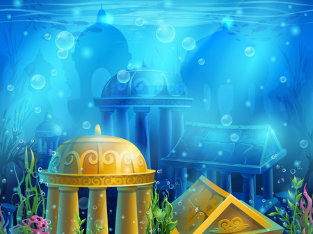 Underwater ruins with a set of elements. For print, create videos or web graphic design, user interface, card, poster.