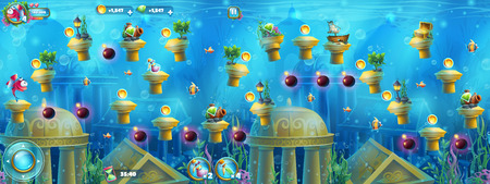 ancient atlantis: Underwater ruins with a set of elements.  For print, create videos or web graphic design, user interface, card, poster. Illustration