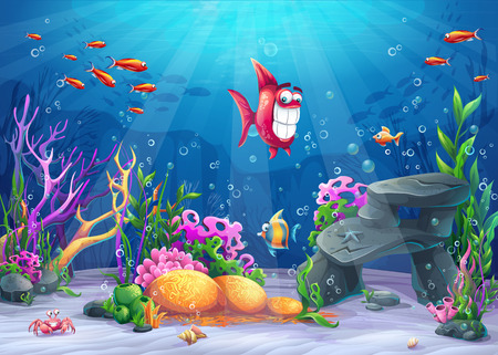 Undersea with fish. Marine Life Landscape - the ocean and the underwater world with different inhabitants. For design websites and mobile phones, printing.