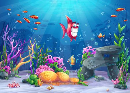 Podwodne z rybami. Pejzaż Morskiego Życia - ocean i podwodny świat z różnymi mieszkańcami. Do projektowania stron internetowych i telefonów komórkowych, drukowanie.