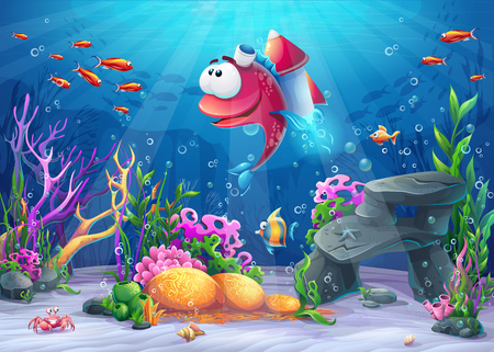 Undersea fish with rocket. Marine Life Landscape - the ocean and the underwater world with different inhabitants. For design websites and mobile phones, printing. Vector Illustration
