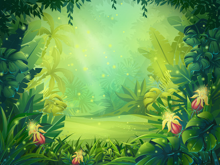 Vector cartoon illustration of background morning rainforest. Bright jungle with ferns and flowers. For design game, websites and mobile phones, printing.