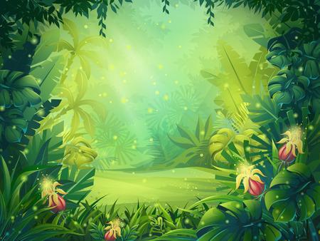 Vector ilustración de dibujos animados de la selva tropical de fondo por la mañana. selva brillante con helechos y flores. Para el diseño del juego, los sitios web y los teléfonos móviles, la impresión.