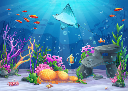 Vector cartoon illustration undersea world with funny character cramp-fish surrounded coral, reef, rock, fish, crab, shell