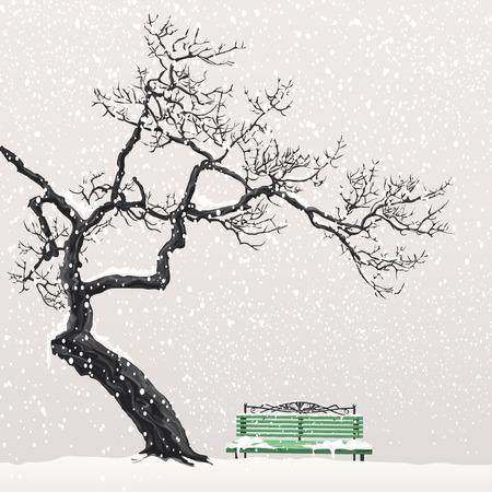 Lonely albero senza foglie testa sopra la panchina verde coperto di neve Vettoriali