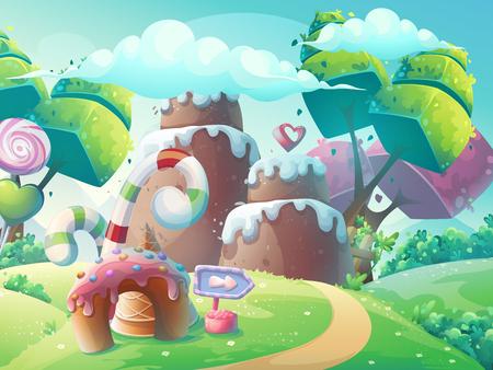 Vector cartoon illustration background sweet cake with fantasy trees Stock Illustratie