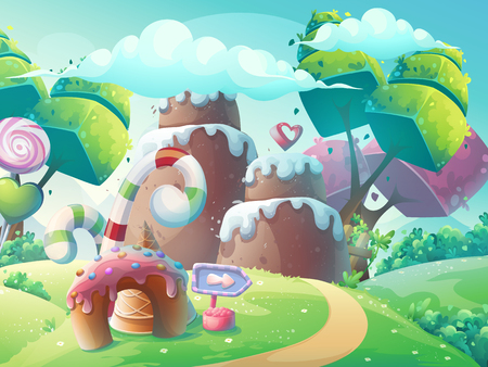Vector cartoon illustration background sweet cake with fantasy trees Vectores