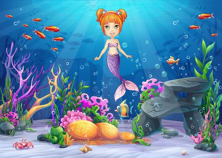 Vector cartoon illustratie onderwaterwereld met grappige karakter meermin omgeven koraal, rif, rots, vis, krab, shell Stock Illustratie