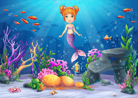 Vector cartoon illustration underwater world with funny character mermaid surrounded coral, reef, rock, fish, crab, shell Illusztráció