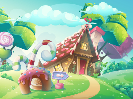 Vector cartoon illustration background sweet candy house with fantasy trees, funny cake and caramel