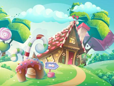 casita de dulces: Vector de dibujos animados ilustración de fondo casa del caramelo dulce con árboles fantasía, torta divertida y caramelo