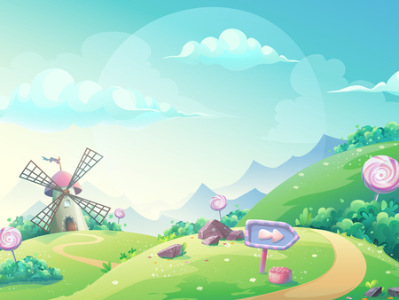 Landscape illustration with marmalade candy mill. Stock Illustratie