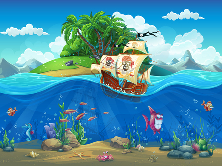 Cartoon illustration of a pirate ship on a backdrop of an island. Vector Illustration