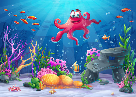Beautiful octopus, coral and colorful reefs and algae on sand. Illustration