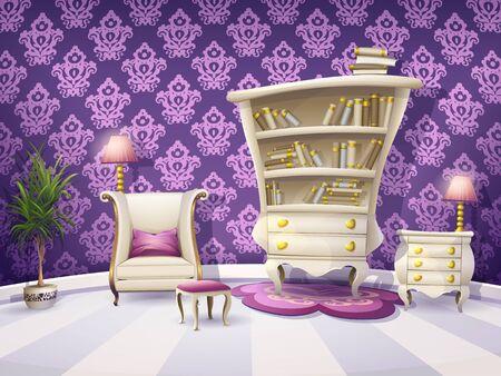 Ilustración de un gabinete de libros de dibujos animados con muebles blancos para pequeñas princesas