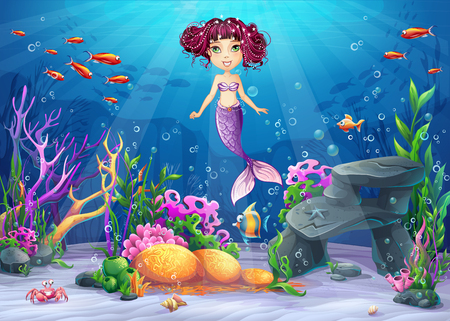 Beautiful brunette mermaid, coral and colorful reefs and algae on sand. Vector illustration of sea landscape.