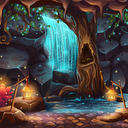 Vector cartoon illustration of a magical waterfall in a grotto under the crown of a spreading tree 版權商用圖片 - 69357190