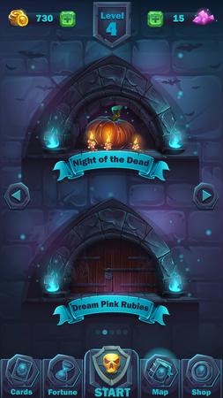 item: Monster battle GUI level. Illustration