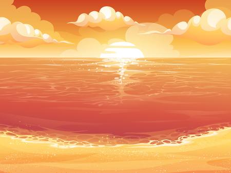morning sunrise: Vector cartoon illustration of a crimson sun, sunrise or sunset on the sea. For print, create videos or web graphic design, user interface, card, poster.
