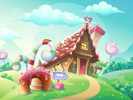 Zoete huis van koekjes en snoep