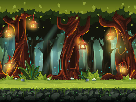 fog forest: Vector cartoon illustration of the fairy forest.