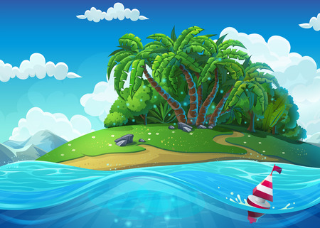 Float on the background of the island with palm trees in the sea under clouds. Marine life landscape - the ocean and the underwater Ilustração