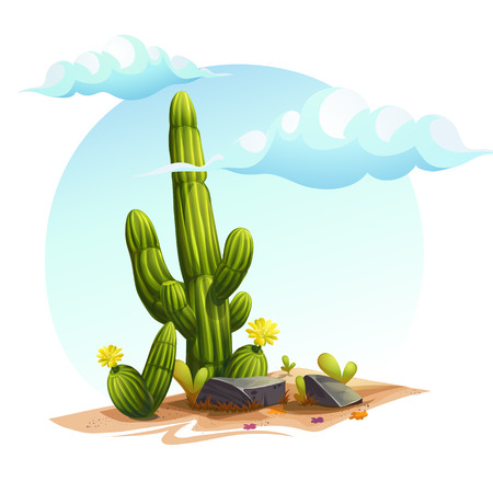 Vector cartoon illustration of a cactus bushes among the rocks on the sand under the clouds in the sky Illustration