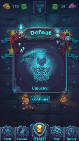 Monster battle GUI defeat playing field Ilustrace
