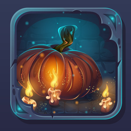 Monster battle GUI icon -  pumpkin and candles