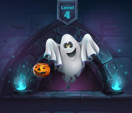 Vector cartoon illustration ghost with pumpkin.