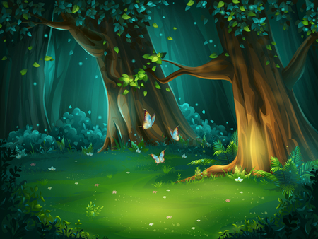 Vector illustration of a forest glade Vettoriali