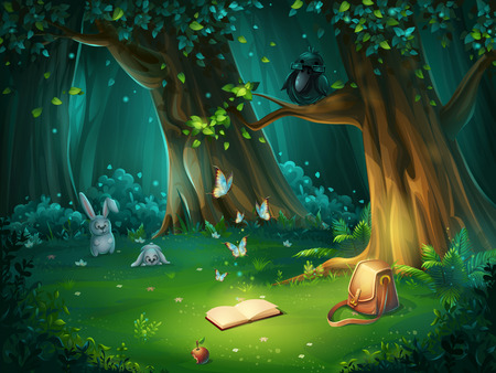 Vector cartoon illustration of background forest glade Çizim