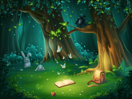 Vectorbeeldverhaalillustratie van achtergrond bosopen plek Stock Illustratie