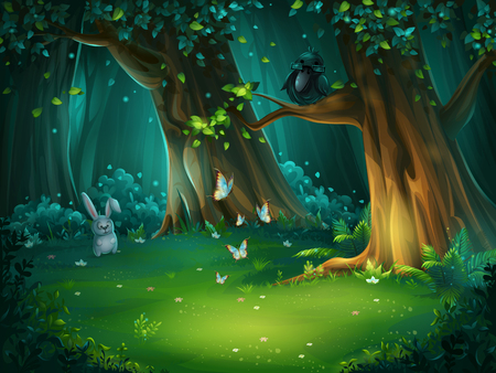 Vector illustration of a forest glade with hare and butterflies