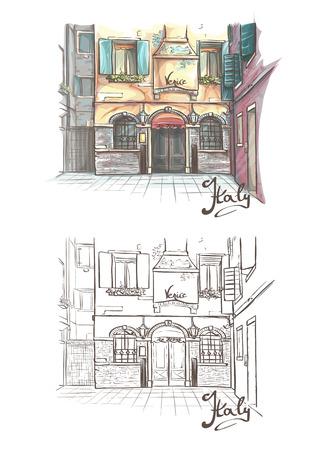 2 つの色の建物のセットとイタリア本文モノクロ。