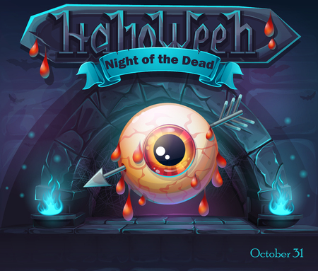 An eye pierced with an arrow over violet background with Halloween night of the dead text.