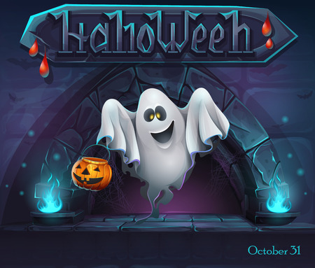 Halloween background with Ghost and pumpkin