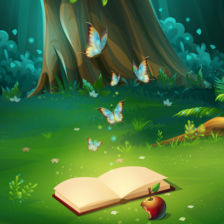 Vector cartoon illustration of forest glade with book