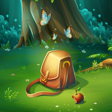 Vector cartoon illustration of forest glade with bag