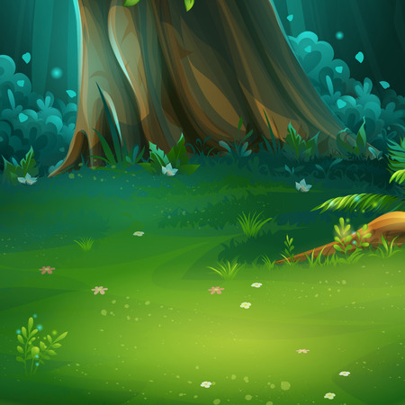 Vector cartoon illustration of forest glade